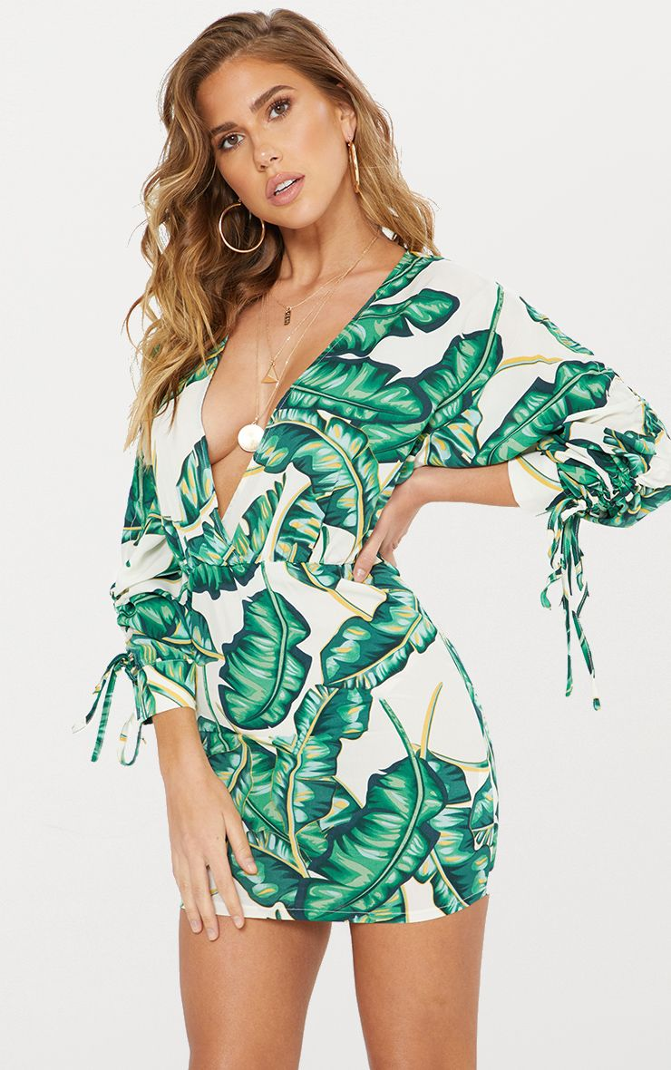 Green Tropical Ruched Arm Bodycon Dress