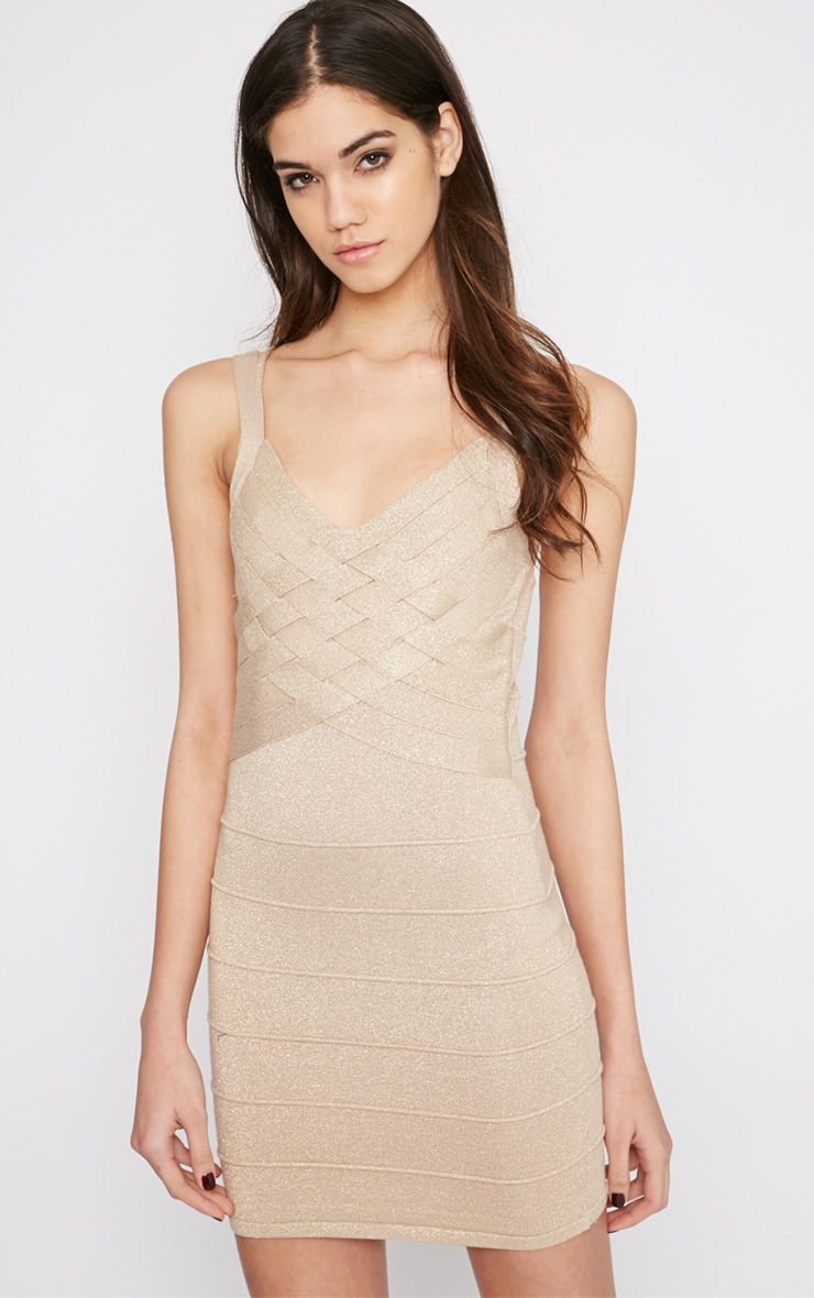 Shayleen Champagne and Gold Criss Cross Bandage Dress 1