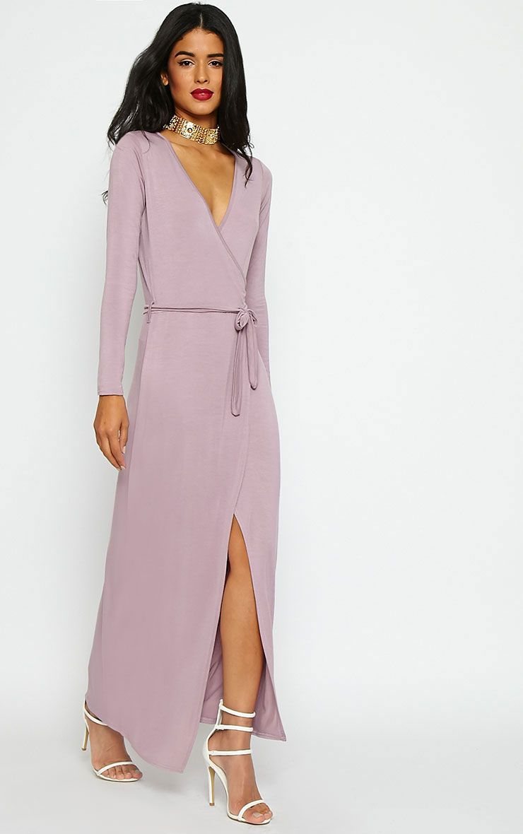 Pennie Mauve Wrap Front Maxi Dress 1