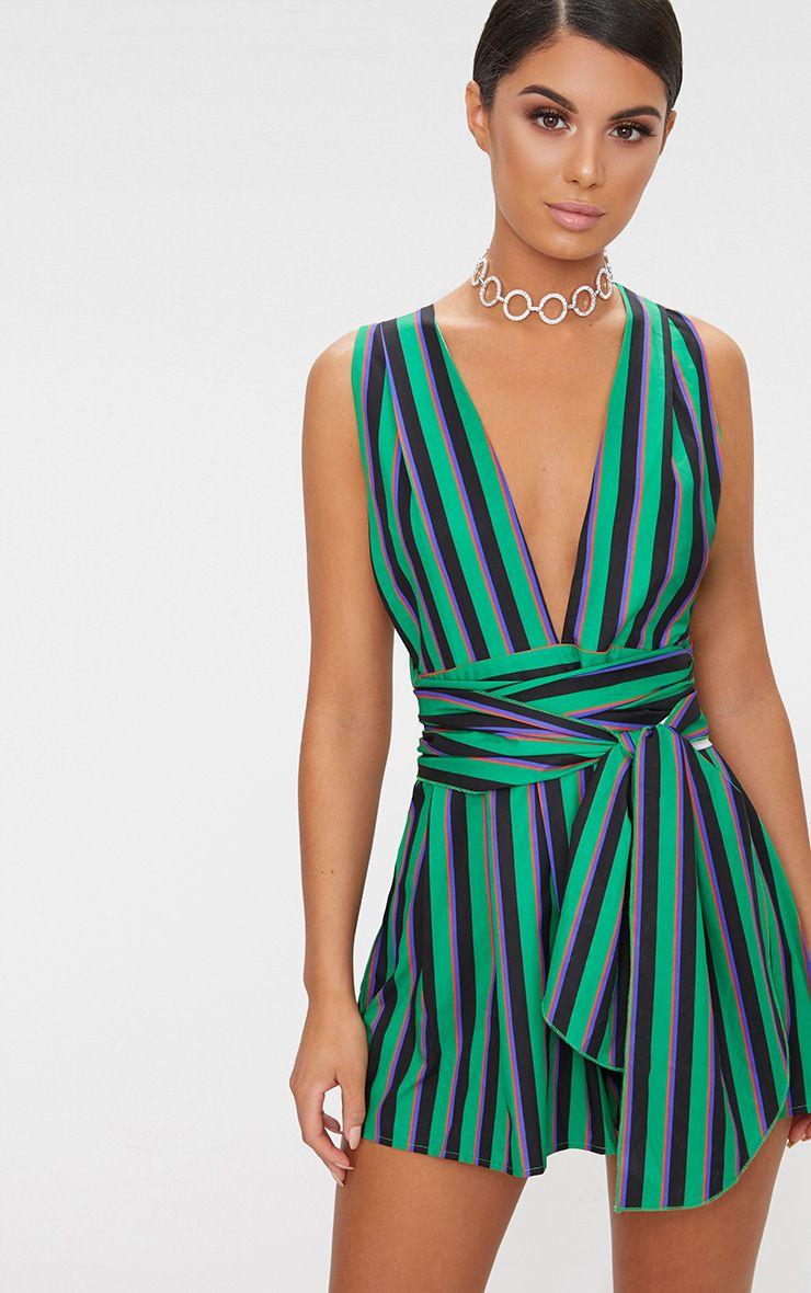 Green Stripe Tie Back Romper