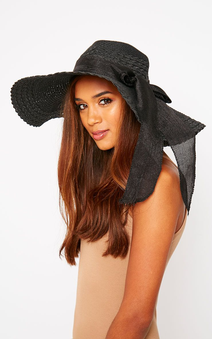 Henley Black Straw Floppy Hat Black