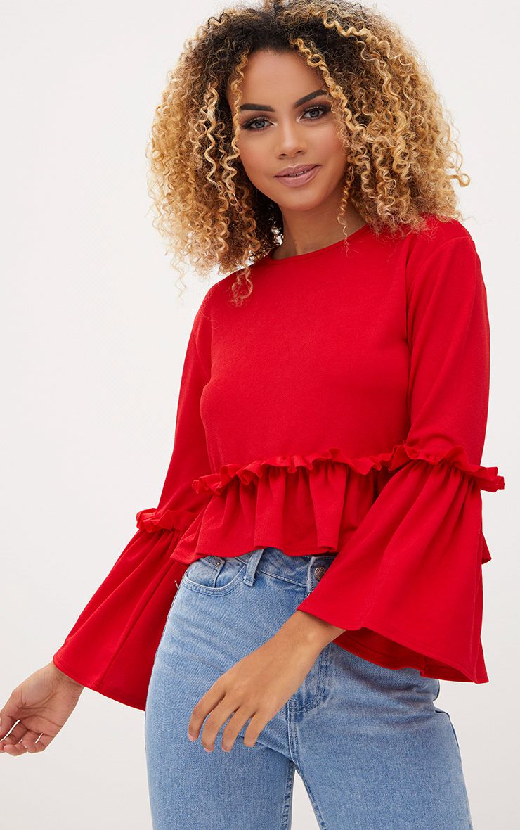 Red Frill Sleeve Top 1