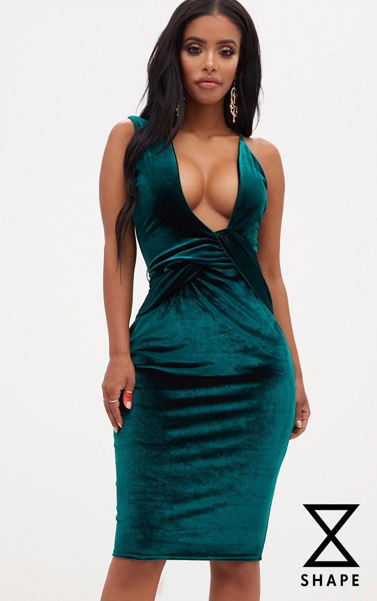 Shape Emerald Green Velvet Asymmetric Strap Bodycon Dress