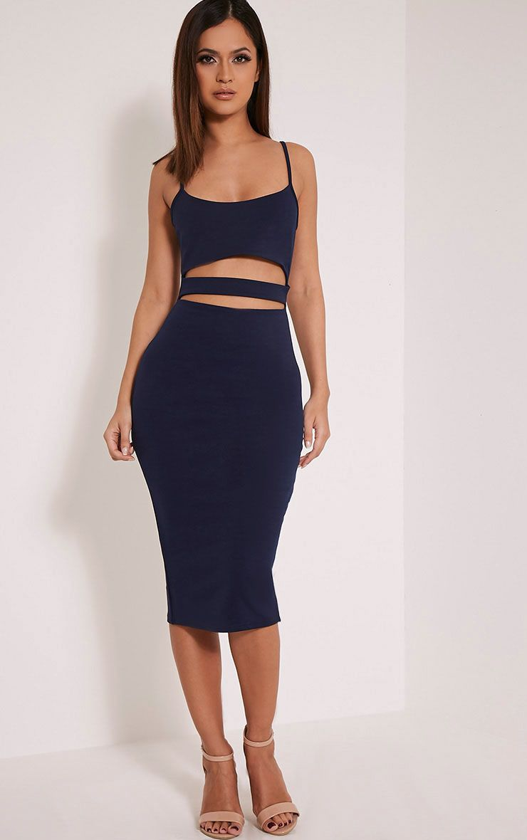 Kheelie Navy Cut Out Midi Dress 1