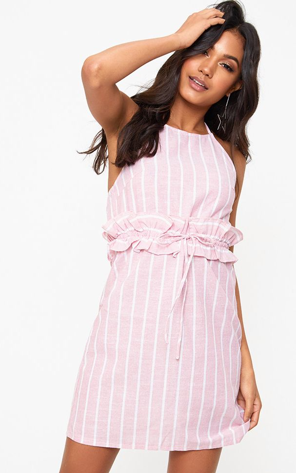 Pink Stripe Halter Neck Frill Waist Shift Dress