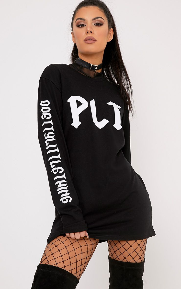 PrettyLittleThing Slogan Black Longsleeve Top