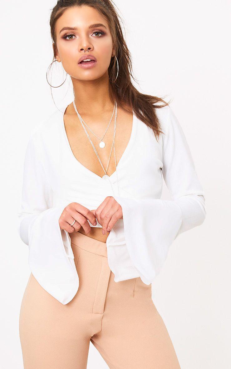 Cream Wrap Flare Sleeve Tie Crop Top