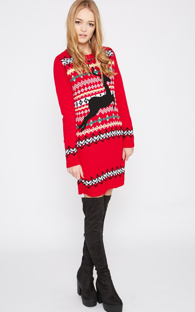 Darina Red Reindeer Christmas Jumper Dress 1