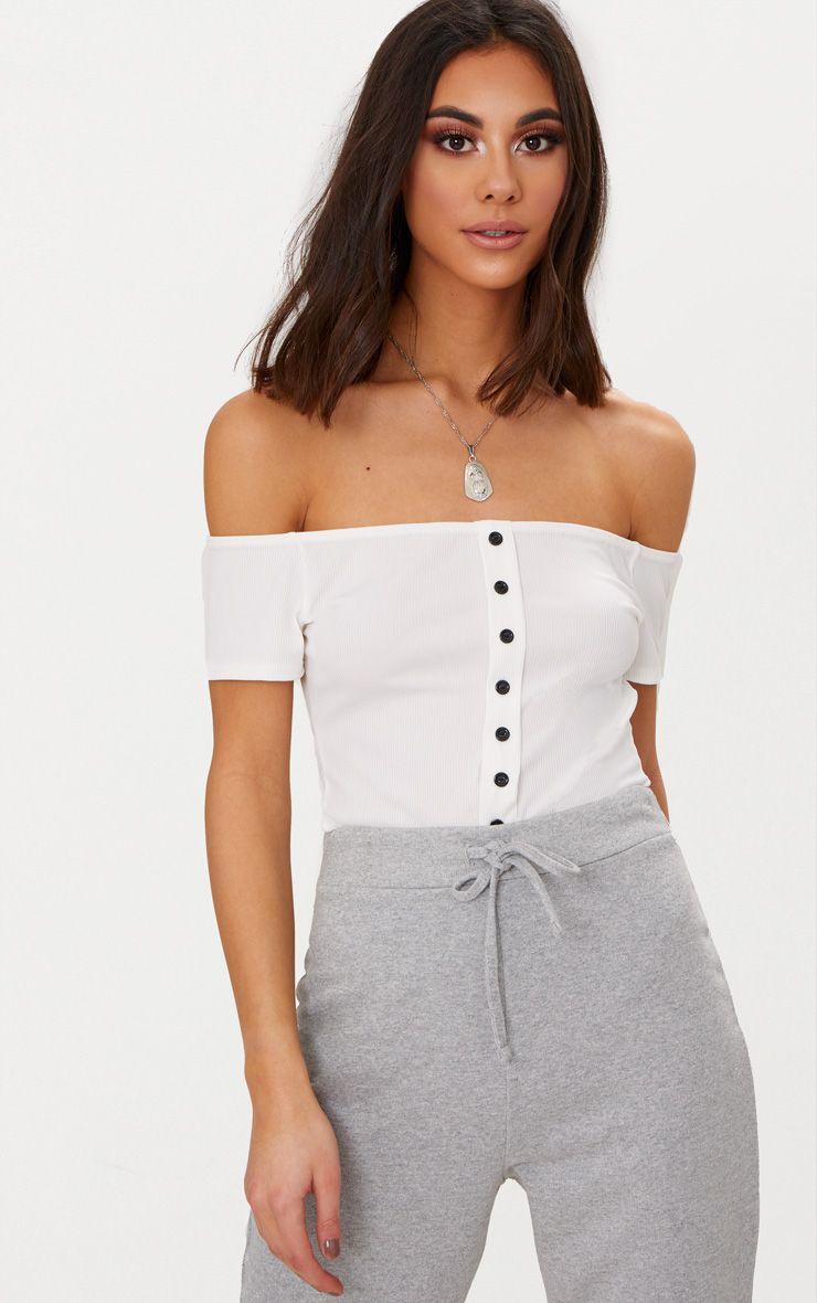Black Rib Button Bardot Thong Bodysuit Pretty Little Thing Free Shipping 2018 OxToQ0d