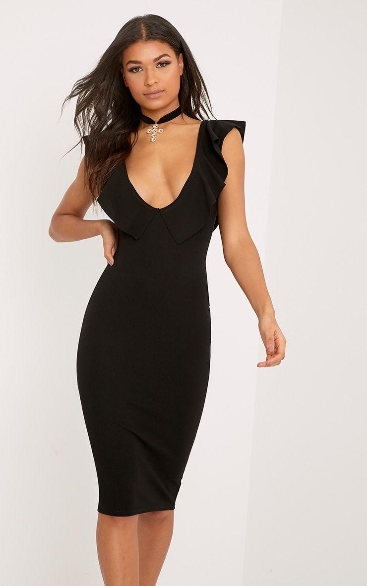Christa Black Frill Sleeve Midi Dress