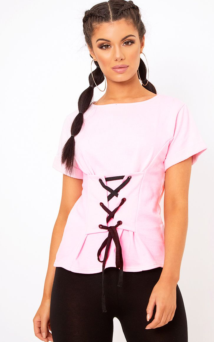 Baby Pink Corset Lace Up T Shirt Sweater