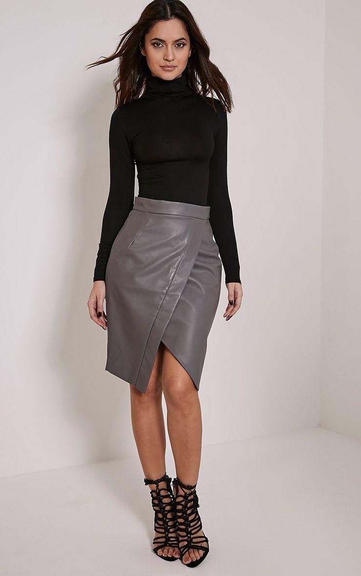 Greer Grey Faux Leather Wrap Midi Skirt 1