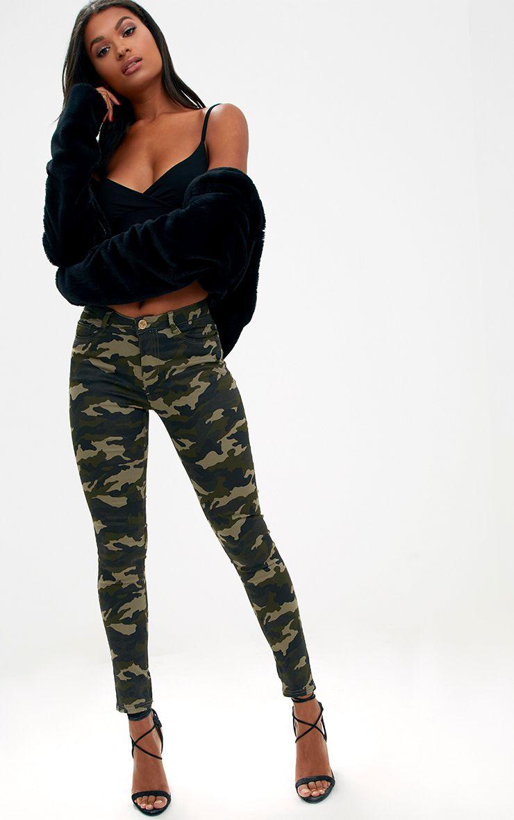 Jean skinny camouflage kaki