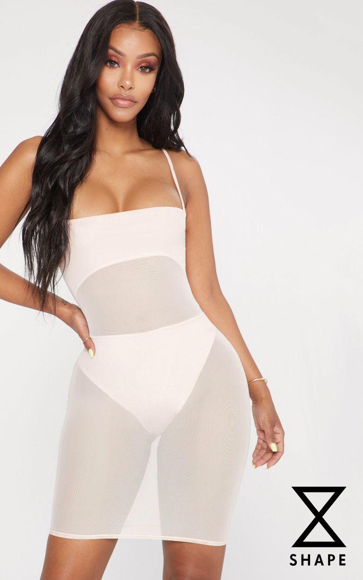 Shape Nude Mesh Panel Bodycon Dress 1