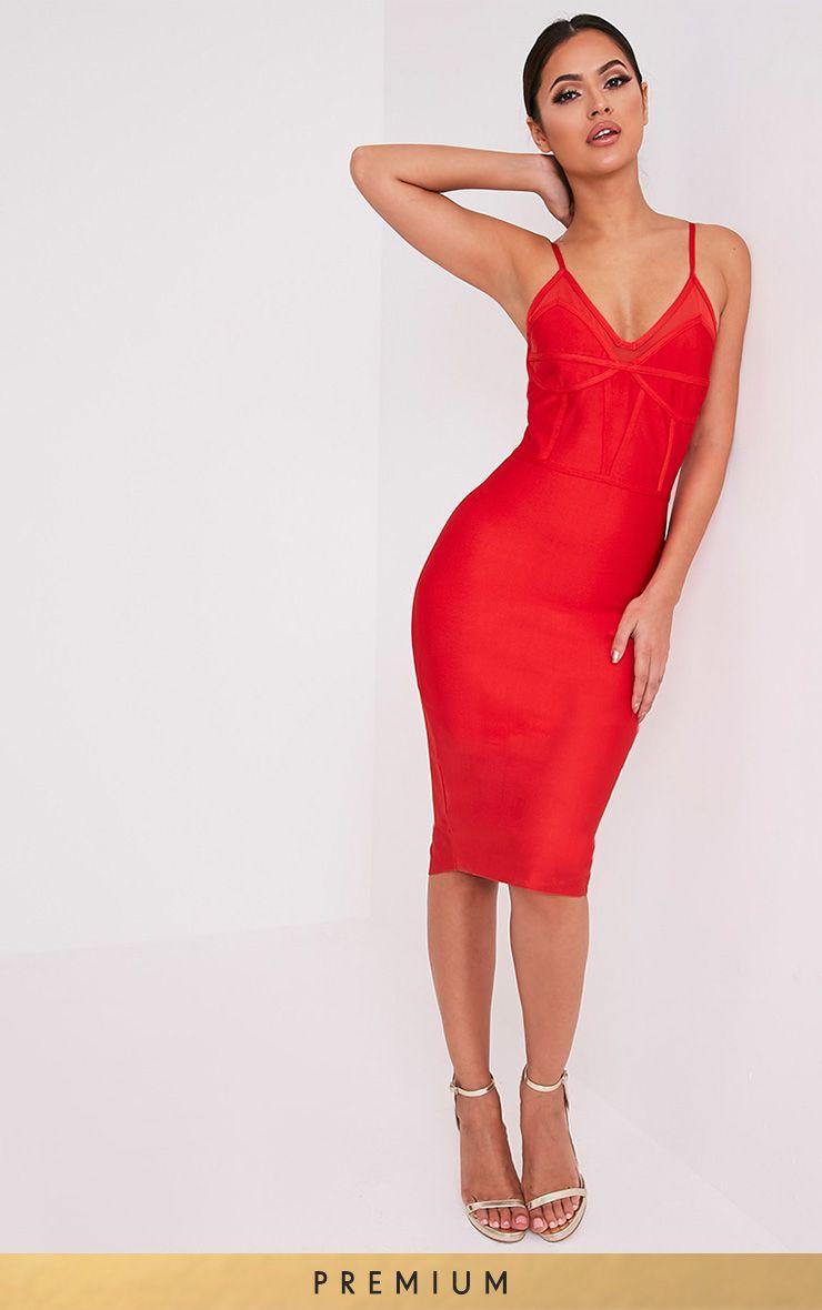 Bethan Red Bandage Mesh Insert Midi Dress 1