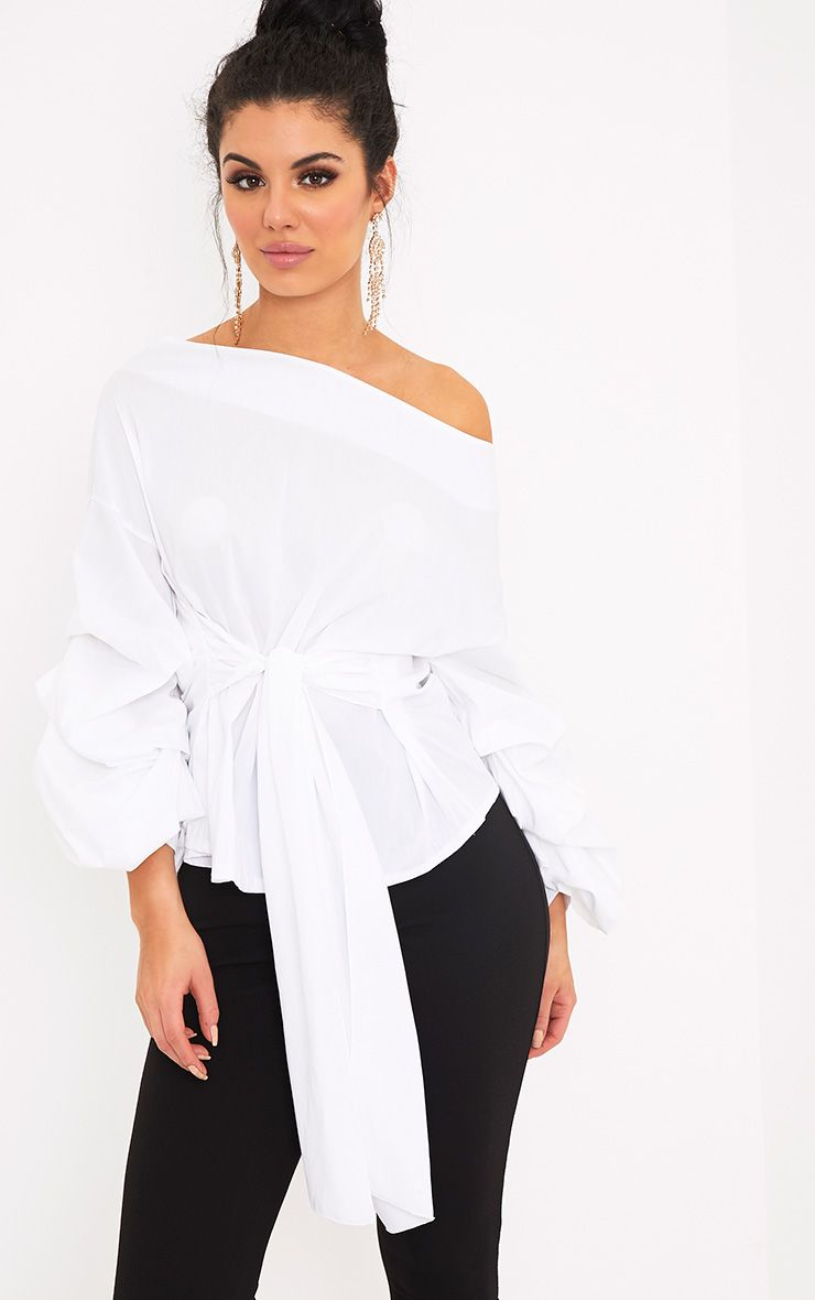 Delanie White Puff Sleeve Off Shoulder Tie Waist Shirt