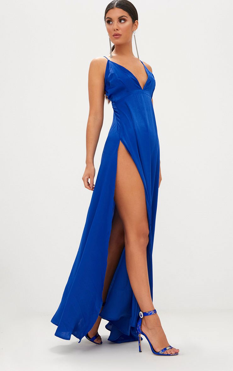 Cobalt Extreme Split Strappy Back Maxi Dress