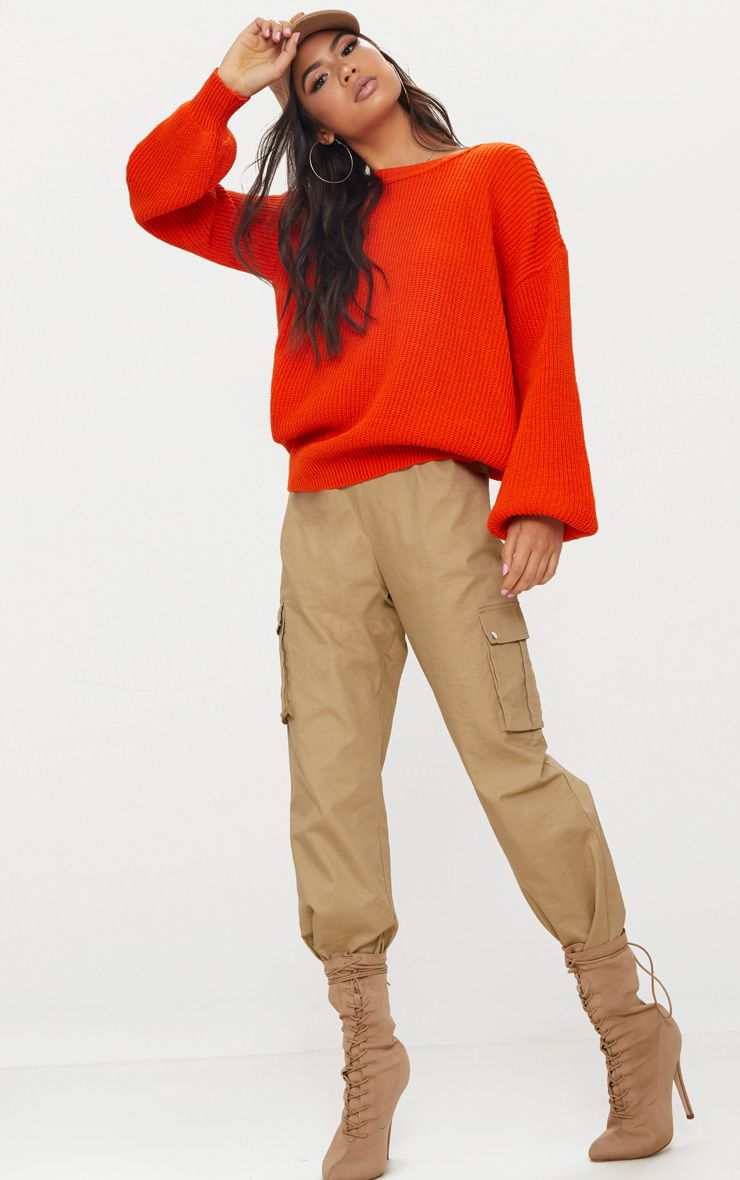 Orange Oversized Balloon Sleeve Jumper