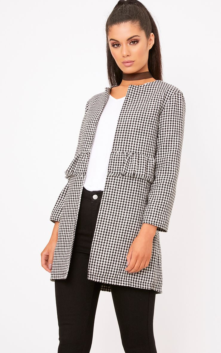 Black Mono Gingham Ruffle Coat
