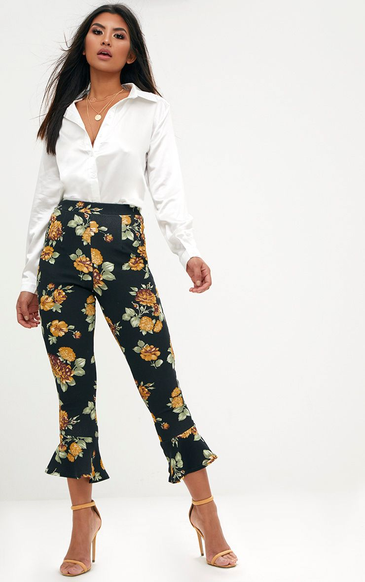 Mustard Floral Flare Hem Trousers