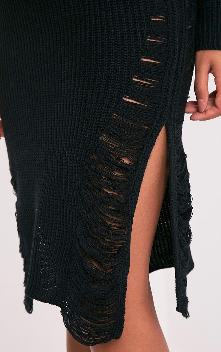 Kionae robe tricotée surdimensionnée effilochée noire 7