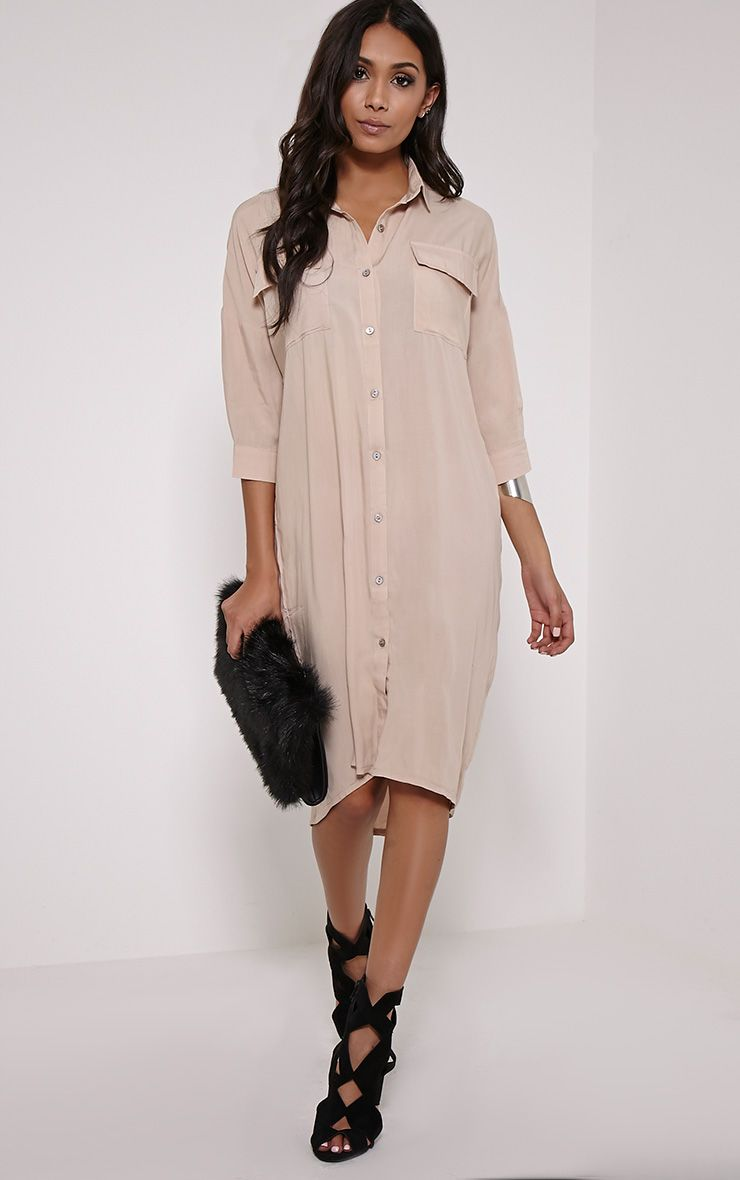 Perrin Beige Longline Shirt Dress 1