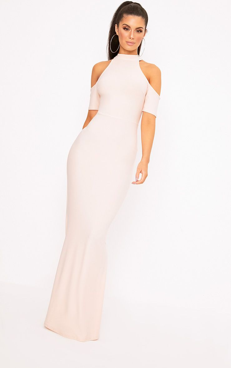 Nude High Neck Cold Shoulder Maxi Dress