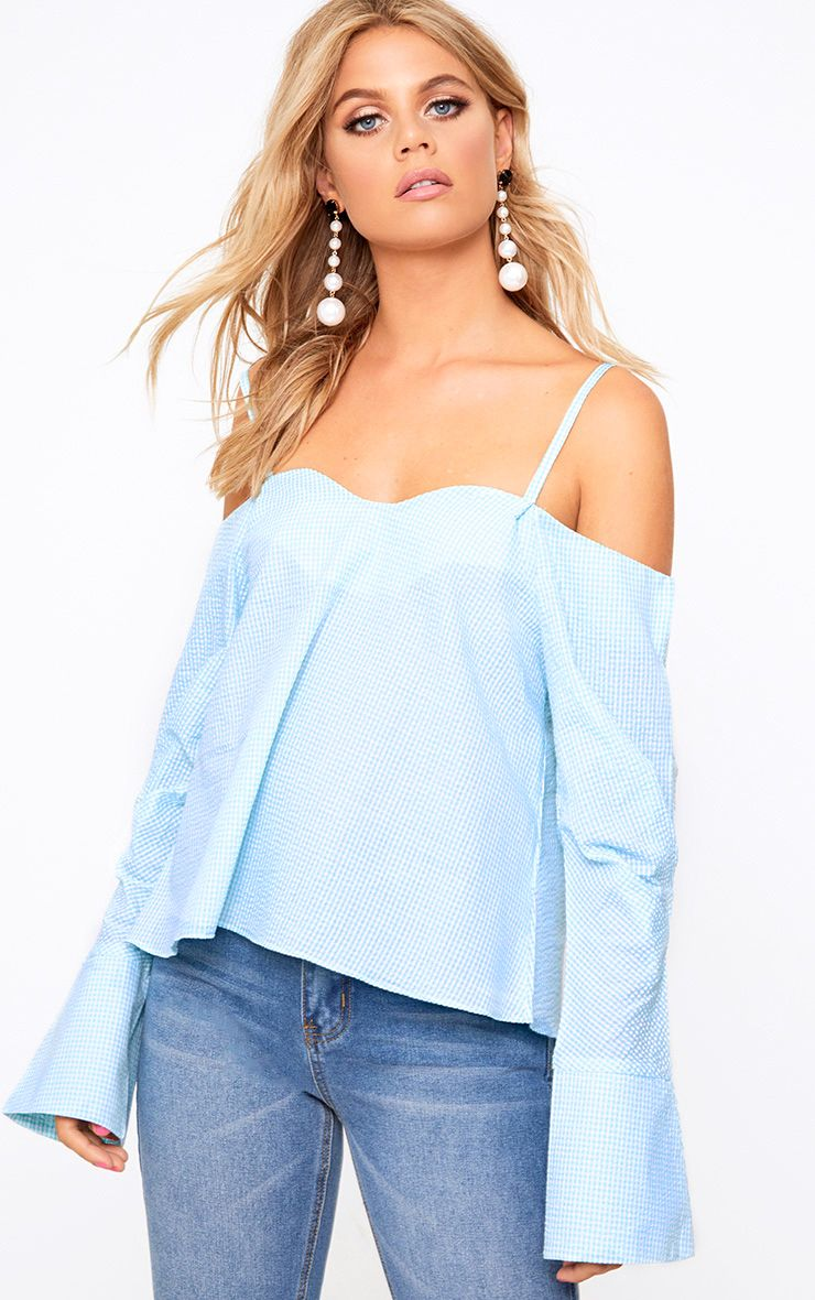 Mint Gingham Check Cold Shoulder Cuff Shirt
