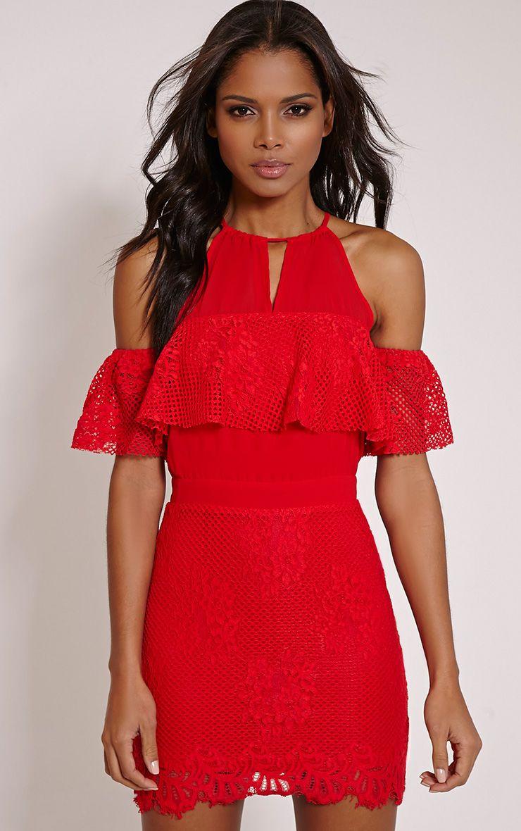 Lia Red Cold Shoulder Lace Mini Dress 1