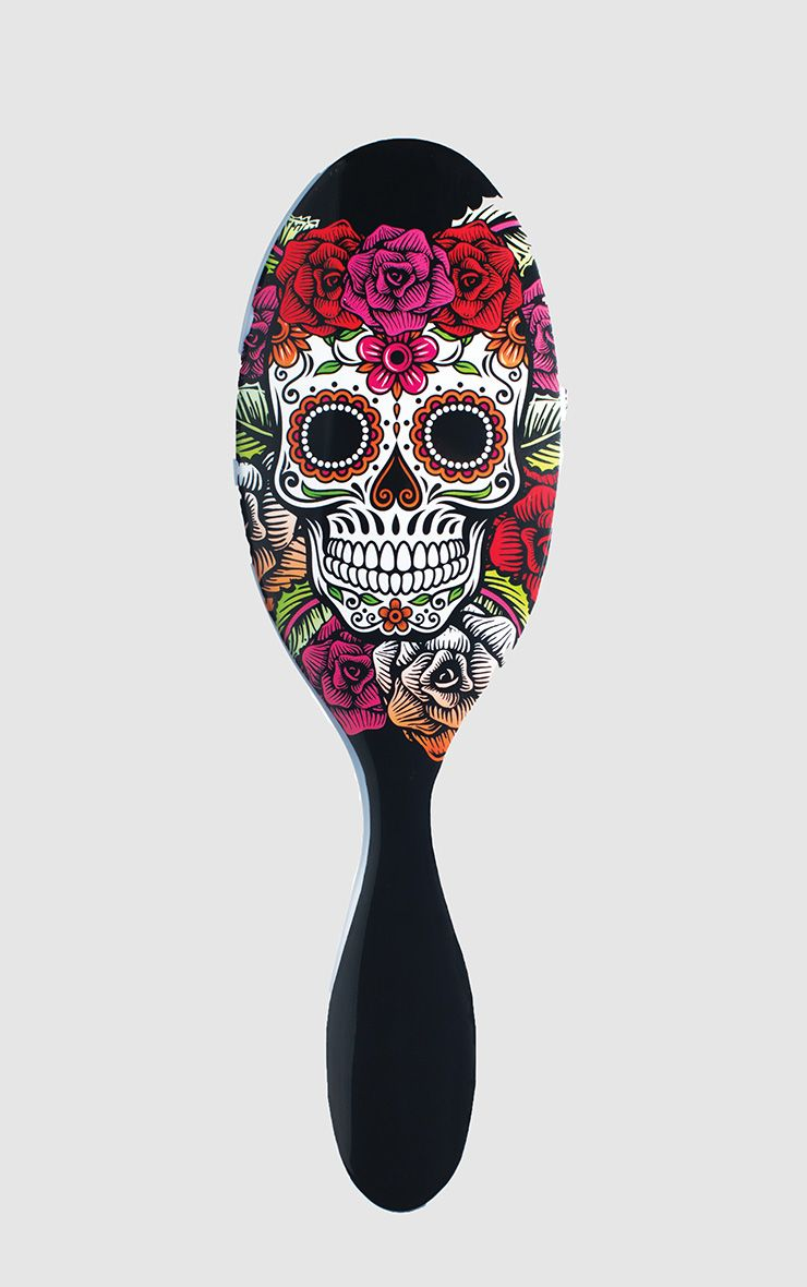 Wet Brush Sugar Skull Red Rose  1
