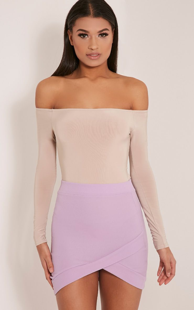 Gabriella Lilac Asymmetric Mini Skirt 1