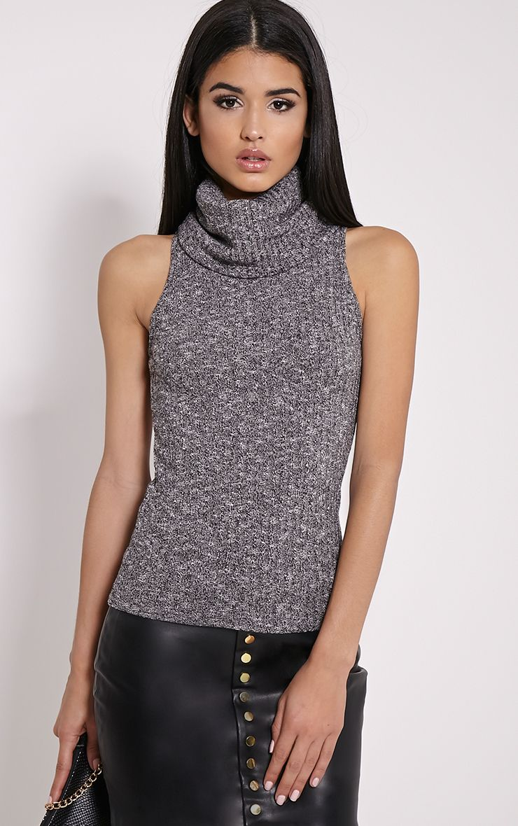 Mandie Marl Grey Roll Neck Sleeveless Knitted Top 1