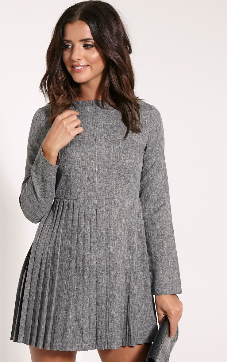 Kay Grey Pleated Long Sleeved Mini Dress 1