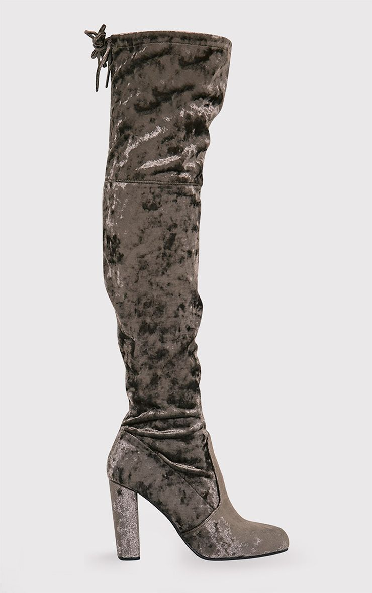 Bess Khaki Crushed Velvet Heeled Thigh Boots