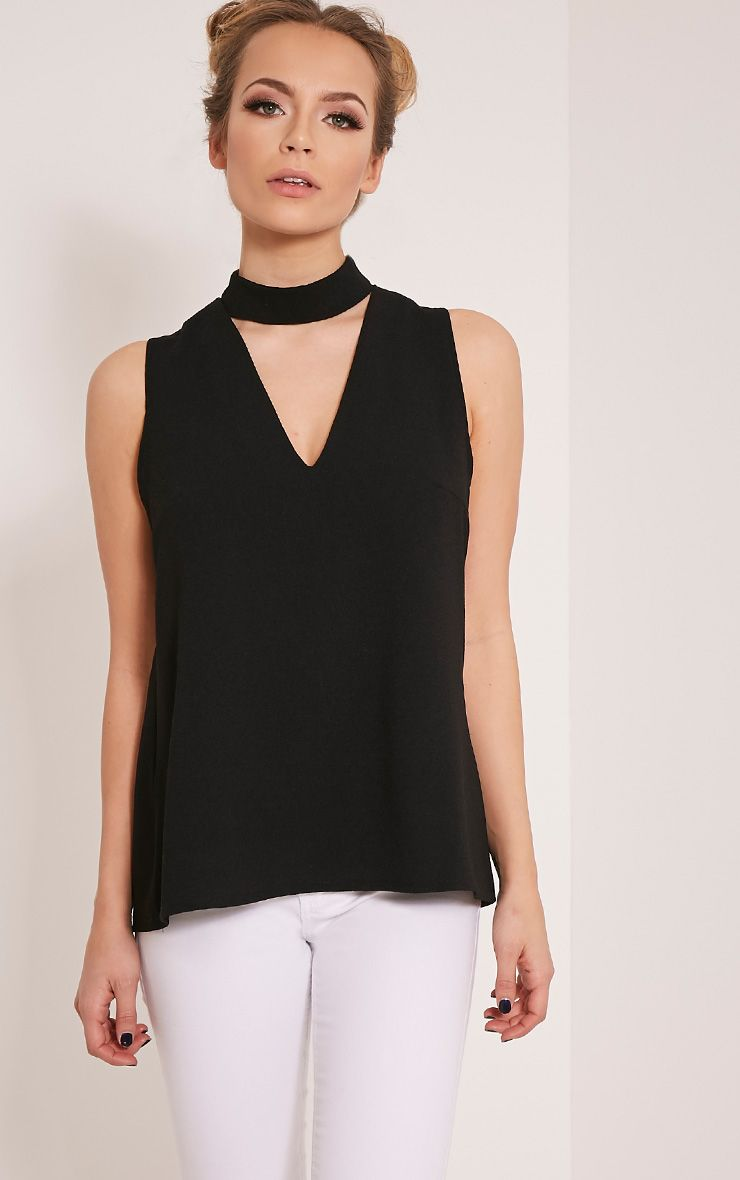 Karen Black Cut Out Neck Shift Top 1