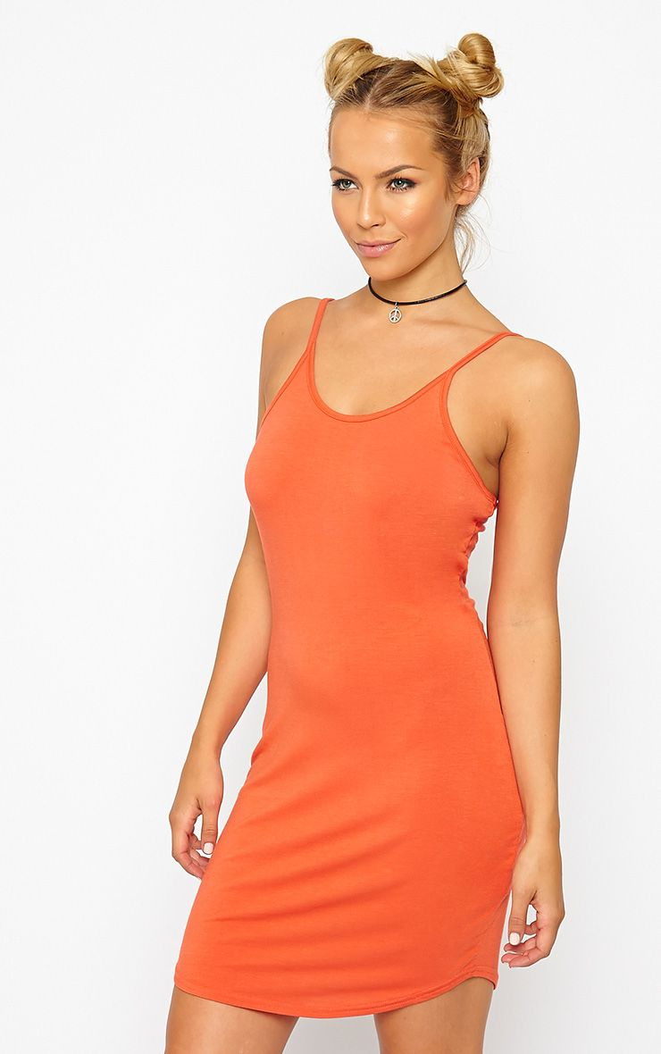 Basic Orange Jersey Mini Dress 1