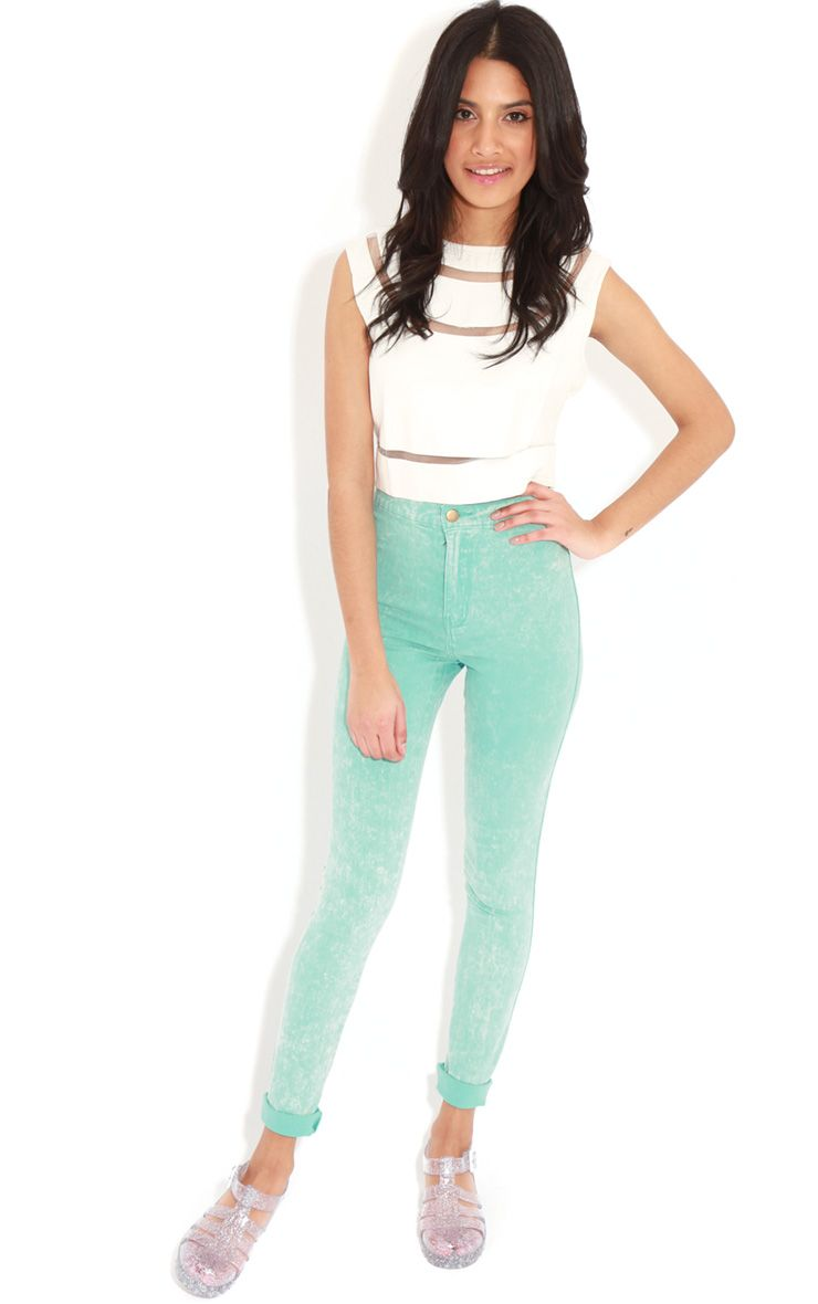 Annie Mint Acid Wash Skinny Jeans 1