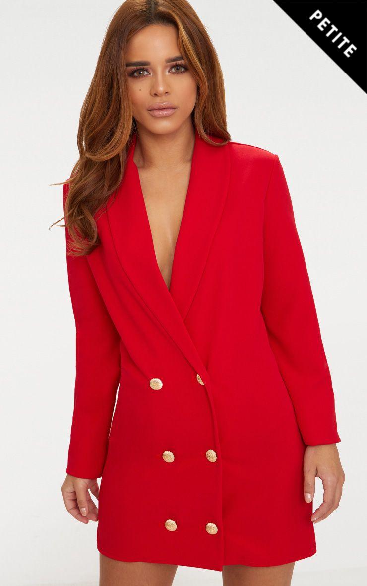 Petite Red Gold Button Blazer Dress