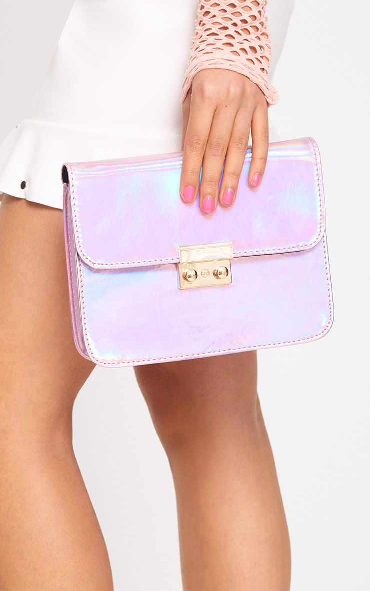 Pink Holographic Cross Body Bag