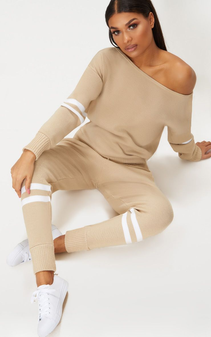 STONE STRIPE DETAIL JOGGER KNITTED LOUNGE SET