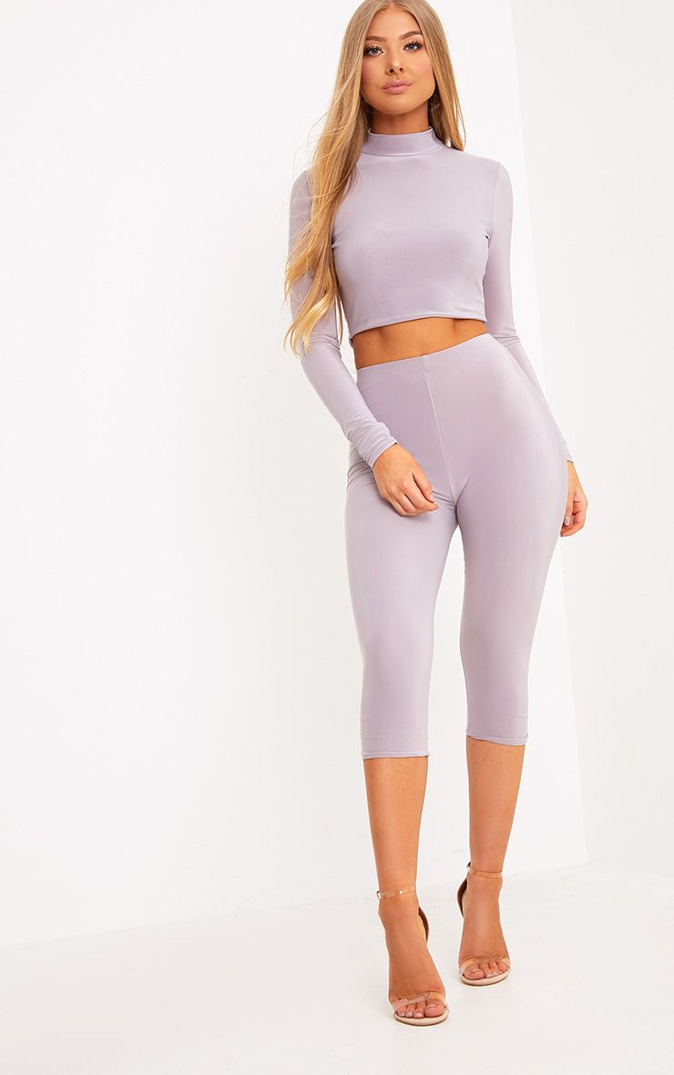 Rio Lilac Grey Slinky Cropped Leggings