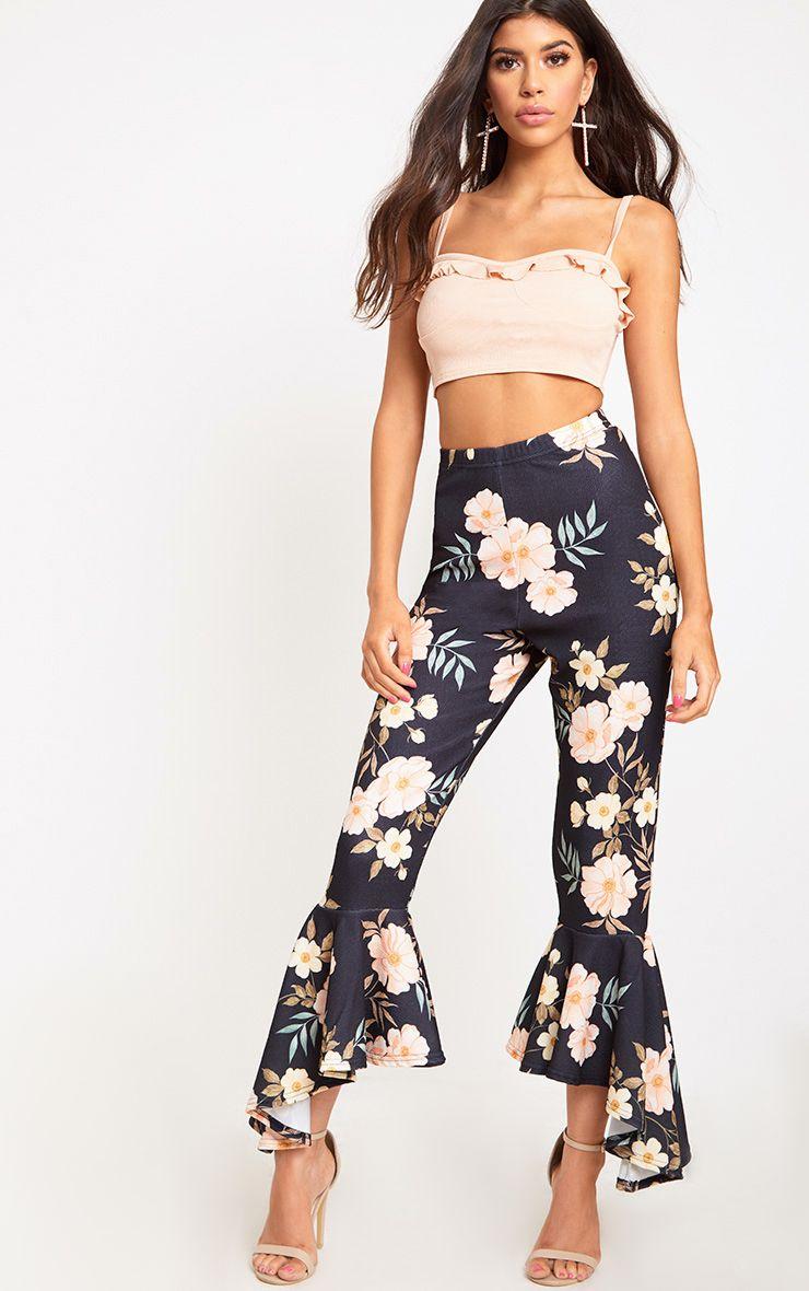 Black Floral Asymmetric Flare Hem Trousers