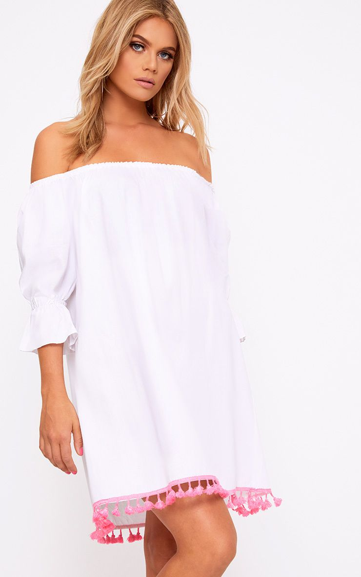 White Pom Pom Sleeve Bardot Shift Dress