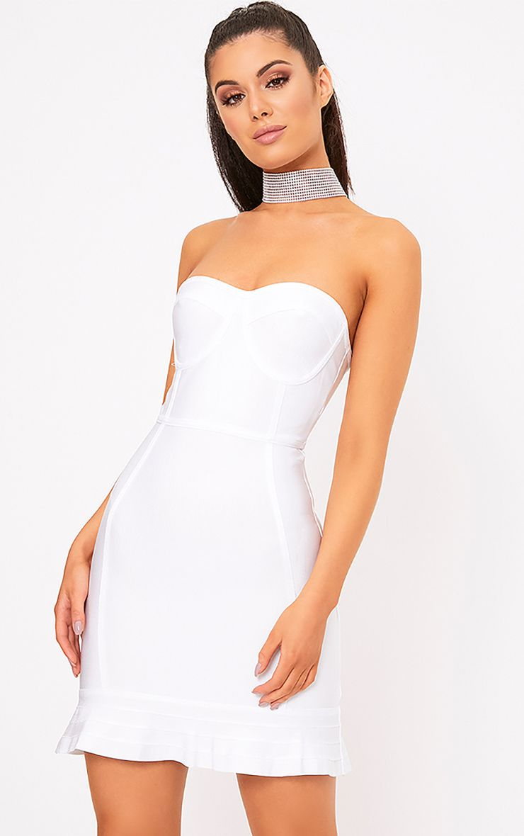 Presli White Bandage Frill Hem Bodycon Dress