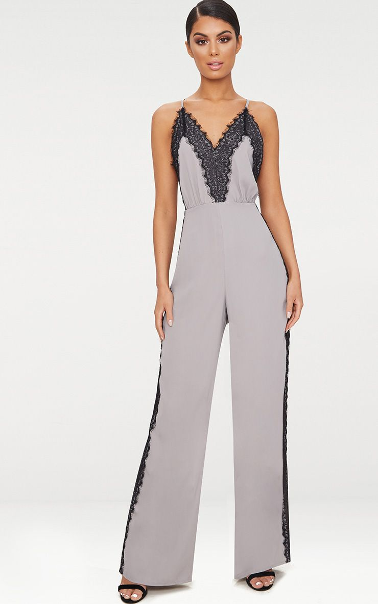 Grey Contrast Lace Trim Jumpsuit