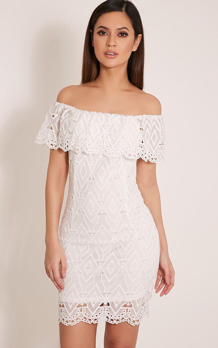 Bonnie White Bardot Lace Bodycon Dress 1