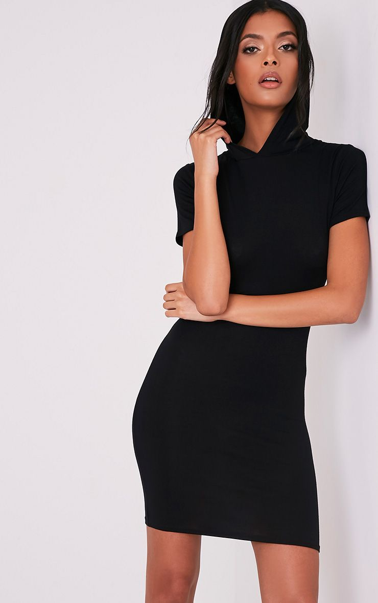 Ruby Black Jersey Hooded Short Sleeve Bodycon Dress