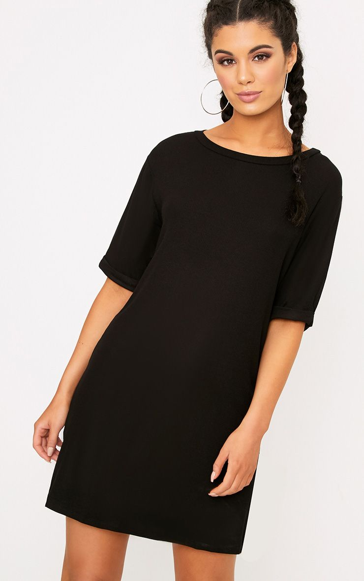 Kannah Black Ribbed Roll Sleeve Oversized T Shirt Dress
