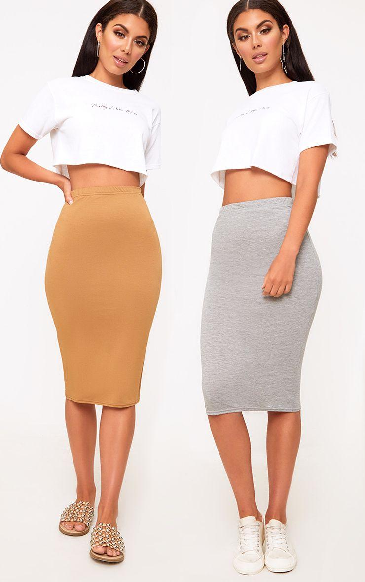 Basic Grey & Camel Jersey Midi Skirt 2 Pack