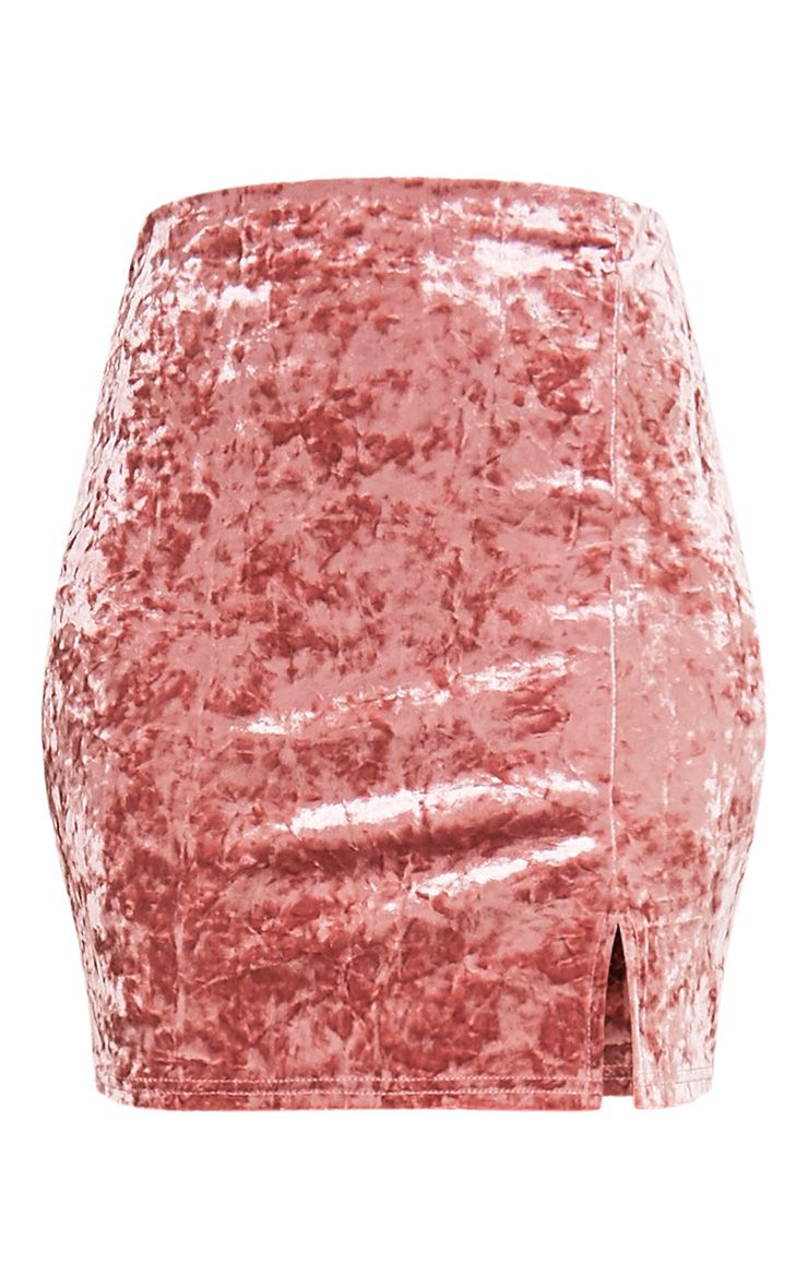Sinead minijupe rose poudré fendue sur le côté en velours écrasé 3